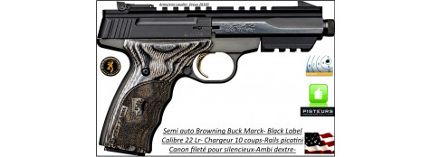 Pistolet-Browning-Calibre 22 Lr-Buck Mark-Black -Micro contour-Label-Canon fileté-Semi automatique-Catégorie B1-Promotion-Ref 27341