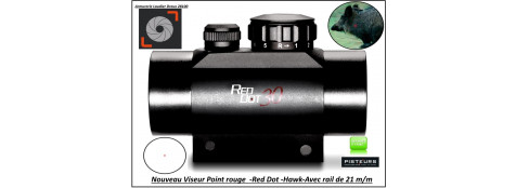 "Viseur- point rouge- électronique-Hawk-Rail de 21 m/m-Point rouge ou vert-""Promotion""-Ref 28334"