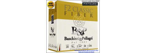 Cartouches-BASCHIERI-&-PELLAGRI- F2-Classic-Fiber-Cal 20/70-Bourre-Grasse-30gr-Numéros-4-5-6-7-8-9-10-11-Boites de 25