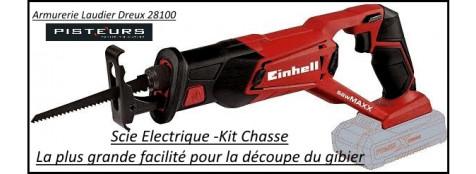 Scie-électrique-kit-chasse-Einhell-avec -batterie-4AH-chargeur-2 lames-Ref 29647
