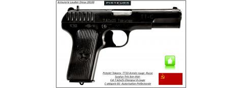 Pistolet-Tokarev-TT33-Russe-Calibre-7.62x25-Semi automatique-Catégorie B1-Promotion-Avec-Autorisation-Préfectorale-B1-Ref 29749