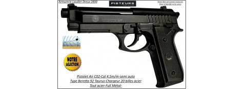 Pistolet-air-C02-Beretta-P 92-Swiss Arms-Cal 4,5mm-Full métal-20 coups-Ref 30834