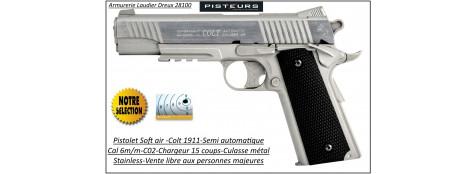 Pistolet-colt-1911-Soft air-Cal 6mm-C02-gun-stainless-Culasse métal-blanche-1 joule-15 coups-Ref 30848