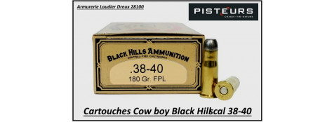 Cartouches-Black-Hills-calibre-38-40-COW-BOY-plomb-180 grains-FPL-Boite de 50-Pour armes anciennes-Ref blackhills-38-40