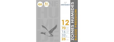 Cartouches UNIFRANCE BILLES ACIER-CAL 12/70 . BASSE PRESSION - Bourre à jupe - Plombs n°4A,6A  (32 grammes)