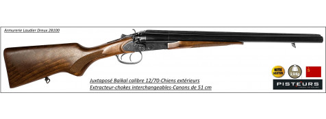 Juxtaposé-Baïkal-CHIENS EXTERIEURS-Cal-12/70-Canons-51 cm-Chokes interchangeables-Extracteurs-Ref 11826
