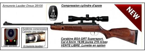 "Carabine BSA air comprimé GRT Supersport SE-Cal 4.5mm-Cylindre gaz azote compressible  19,99 joules-""Promotion"" -Ref 19617"