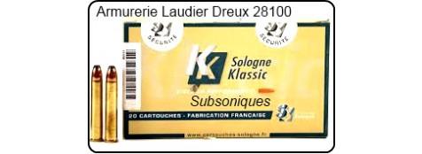 Cartouches -Sologne -Subsoniques- pour tir avec armes avec silencieux-Cal 222 Rem -ou 243 winch.