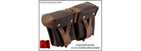 Cartouchière-double cuir- d'origine pour Mosin Nagant -Ref cartouchière nagant