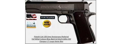 Pistolet-air-Colt-45-1911-100th Anniversary-Cal 6mm-billes-C02-culasse-blow back-cybergun-Full métal-17 coups-Collector-Ref 31535