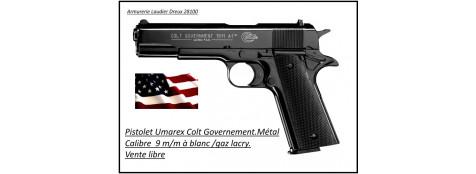 Pistolet -alarme-Umarex-Type-colt 1911-Governement Bronzé -Calibre 9m/m-blanc-gaz-Ref 17516