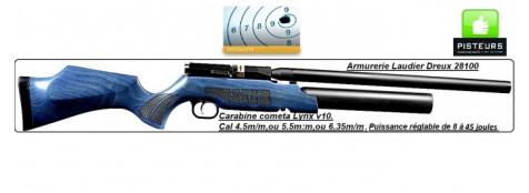"""Carabine-Cometa-PCP-LYNX V 10-air comprimé-Cal 4.5m/m-Puissance réglable de 8 à 45 joules-Crosse bois bleu, ou bois naturel-""""Promotions""""."""