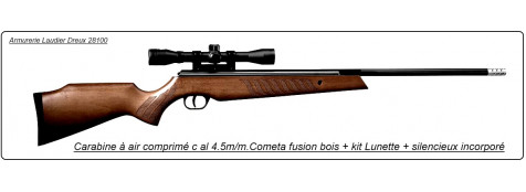 """Carabine air comprimé COMETA FUSION, cal 4.5mm avec lunette. 330 m/sec - 27,3 joules, silencieux incorporé au canon.""""Promotion"""" Ref 14180"""
