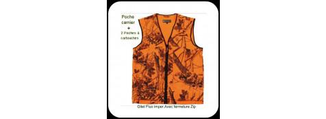 """Gilet battue orange fluo et camoufle.Traité pour pluie.+Poche carnier+2 poches munitions+poches permis. Taille """"L"""" .Ref 4245 DH waistcoat."""