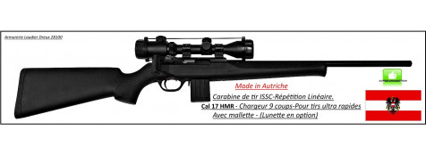 """Carabine-ISSC-SPA-Standard Black-Autriche- Répétition-Linéaire-Cal 17 HMR+ Mallette-""""Promotion""""-Ref issc-17"""