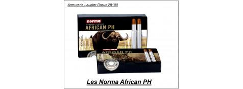 Cartouches de grande chasse NORMA  African PH.Cal 375 HH,ou 416 Rigby,ou 450 Rigby Rimless,ou 470 Nitro Express,ou 500 Nitro express,ou 505 Mag GIBBS