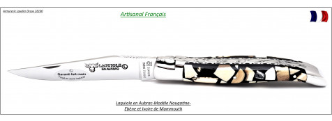Couteau-Laguiole-en-Aubrac-Marqueterie-mammouth et ébène-Modèle  Nougatine-Lame de 12 cm -Artisanal-