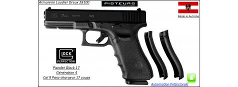 Pistolet-Glock-17-génération4-Calibre-9 Para-Semi automatique-Catégorie B1-Promotion-Avec-Autorisation-Préfectorale-Ref glock-17-4