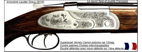 """Superposé Verney-Carron Sagittaire® St Etienne--Polynox  -Extra Luxe contre-platines.---Calibre 12 Magnum.Extracteur-ou- Ejecteurs-""""Promotion"""""""