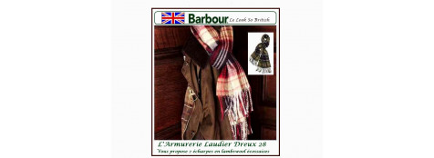"Echarpes Barbour.Lambswool. Carreaux fond Rouge/Navy.""Promotion"".Ref. Re 511"