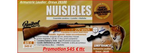 """Carabine-Baikal-un coup-Kipplauf-Cal  270 winch+ Kit lunette LYNX 2.5x10x56 + Montage -Mono Bloc+monobloc -""""Promotion"""".Ref 15989"""
