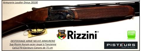 Superposé-Rizzini-Aurum-Calibre -12/70-DESTOCKAGE-NEUF-ARMURERIE-Jaspé-Ejecteurs-Canons-71 cm-Ref Rizzini-aurum-Cal 12