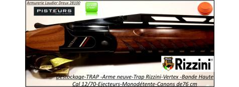 Superposé-Trap-Rizzini-Vertex-Bande -Haute -DESTOCKAGE-NEUF-Cal 12/70-Ejecteur-Trap-Busc-réglable -canon-76 cm-Ref-Rizzini-Trap-vertex-bande haute-Destockage-neuf