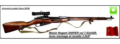 """Fusil Russe-MOSIN NAGANT-SNIPER+Montage  et lunette 3.5 PU -modèle 1891/30-D'époque- répétition 5 coups -Calibre 7,62 x 54 R -""""promotion""""-Ref 22620"""