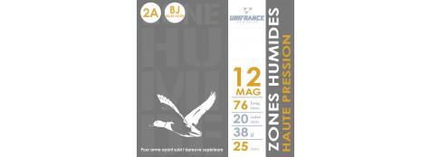 Cartouches UNIFRANCE BILLES ACIER-Cal 12/76 MAGNUM- HAUTE PRESSION - Bourre à jupe  - Plombs n°2A,4A  (38grammes)