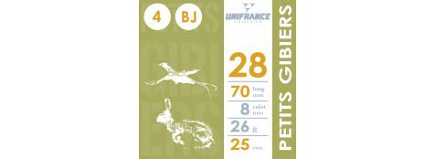 Cartouches cal 28/70.Unifrance.Petits Gibiers.. Bourre à jupe.N° 4 ou 6, ou 7 1/2.Boite de 25.