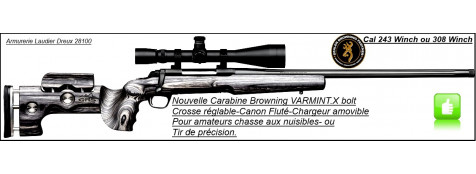 "Browning- X-BOLT SF Varmint GRS-Cal 243 winch-ou- 308 winch-Canon lourd flûté et fileté-Crosse réglable-""Promotion""."