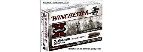 "Cartouches grande chasse Winchester.EUROPE. Cal: 7x64,ou 8,57 Jrs,ou 9,3x74R,ou 9,3x62  (boite de 20) .Type Power point.""Promotions""."