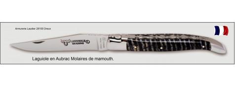Couteau-Laguiole en Aubrac-Mod  Molaires de Mammouth -Bleu foncé-Lame de 12 cm -Ref L0712DWI/FS/1