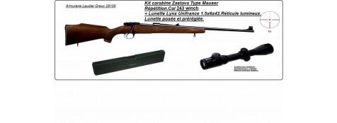 """Carabine ZASTAVA-Cal 243 winchester type Mauser+ KIT lunette 1,5-6 x 42-""""Promotion""""-Ref 13740"""
