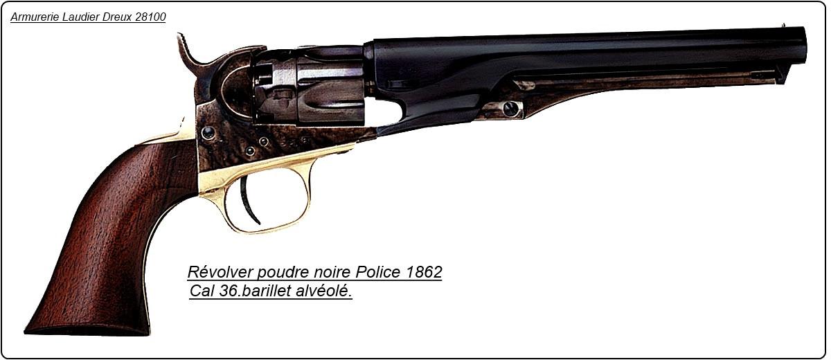 Révolver Uberti Poudre Noire POLICE 1862 Calibre 36 canon bleuté.Ref 130