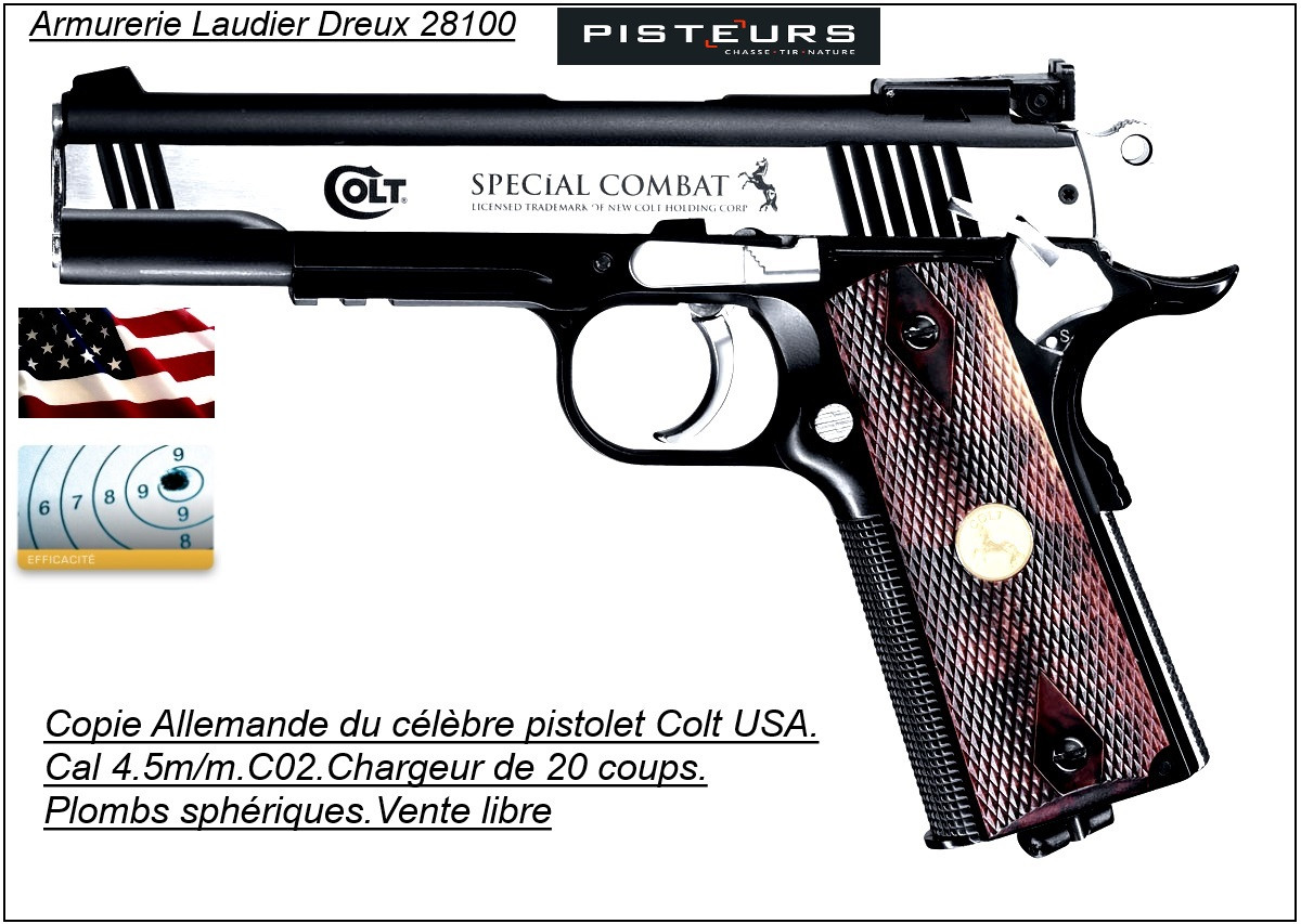 """Pistolet-Umarex-COLT-SPÉCIAL COMBAT- Classic-  Cal 4,5mm- 20 coups -""""Promotion""""-Ref 14220"""