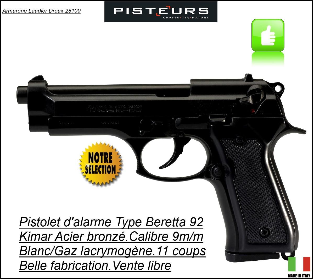 """Pistolet  alarme Kimar Calibre 9 m/m à blanc /gaz-Type Beretta 92- Bronzé --""""Promotion""""-Ref 1479"""
