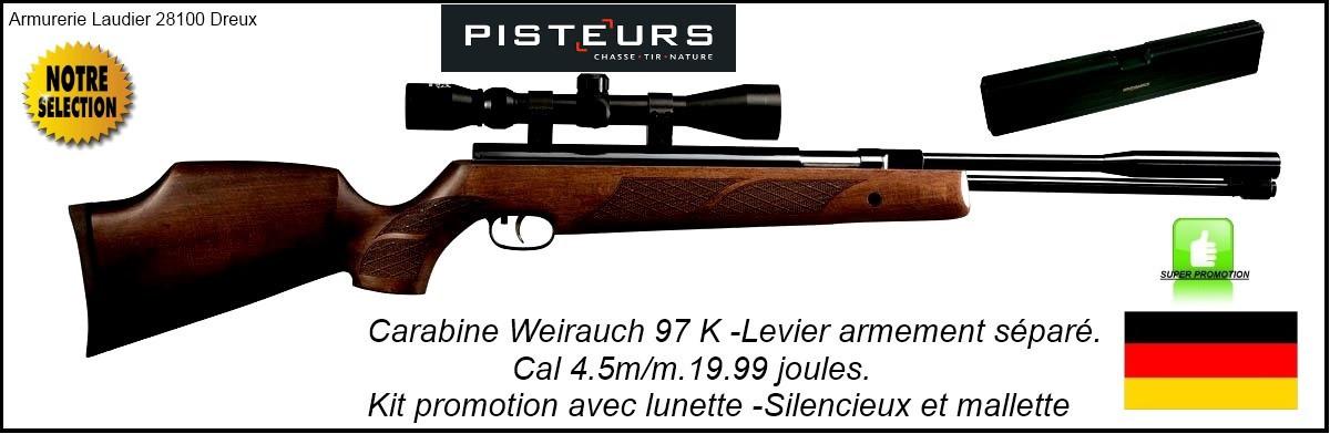 Carabine Weihrauch Hw97K Calibre 4.5mm Air comprimé  Levier d'armement sous canon + Silencieux +  lunette 3x9x40+mallette -19.99 joules-Promotion-Ref 1660