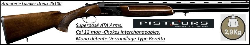 Superposé ATA-Arms  Calibre 12 Magnum 76 cm Mono détente-Chokes inter-Billes acier-Verrouillage type Beretta-Promotion-Ref 18893