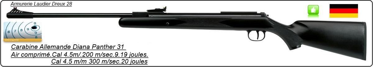 Carabine Allemande DIANA air comprimé PANTHER 31-Cal 4.5mm- Détente directe- 280m/s - 19,90 joules-Ref 17328