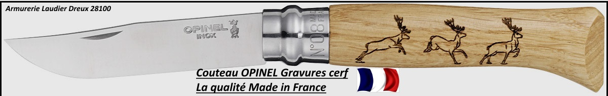 Couteau OPINEL Gamme Animalia- Gravures Cerf- Ref 18697