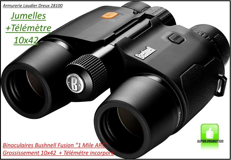 """Jumelles-Binoculaires-Télémètre-incorporé-1600 mètres-Bushnell FUSION-1 Mile ARC-grossissement 10x42-""""Promotion""""- Ref 19273"""