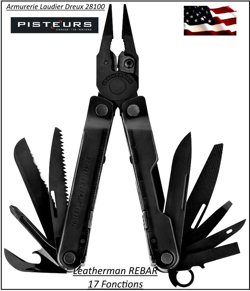 Couteau-LEATHERMAN- 17 outils-Couleur Noir -Rebar-Ref 19631