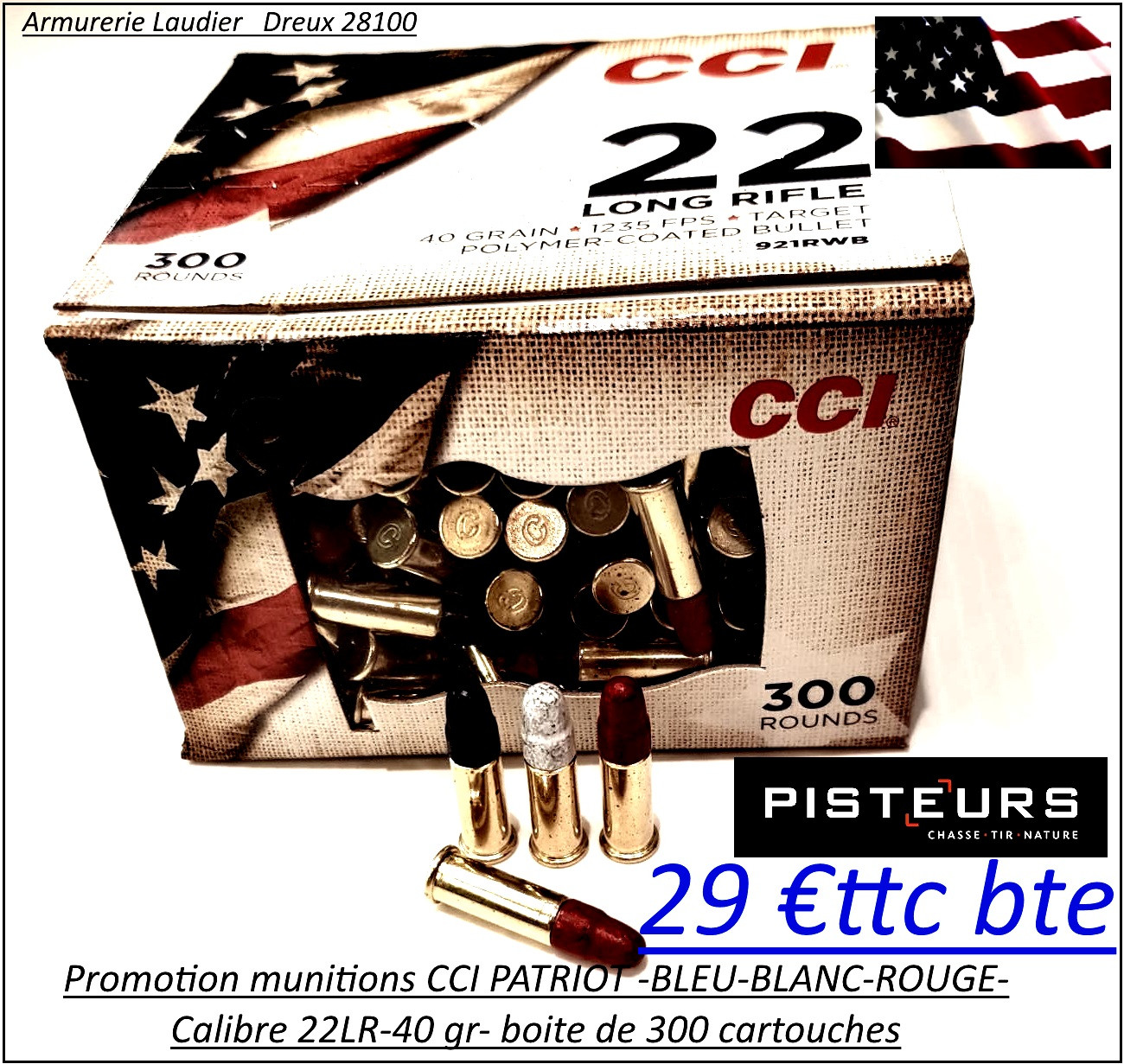 Cartouches-CCI-PATRIOT-BLEU-BLANC-ROUGE -22 Lr-Boite de 300-Ref cci-patriot