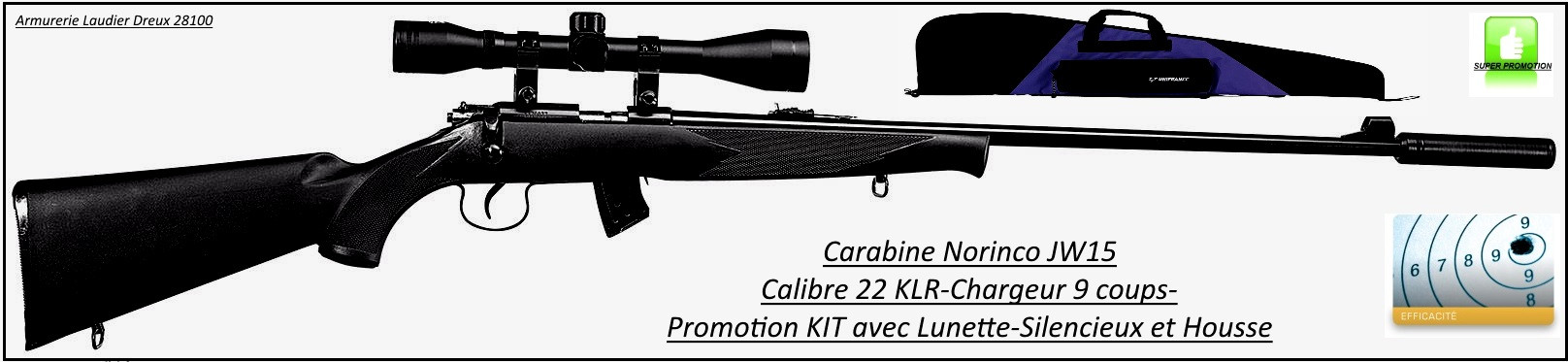 Carabine Norinco Jw15 Calibre 22LR Répétition manuelle Crosse synthétique + kit avec lunette + silencieux-Promotion-.Ref 20483