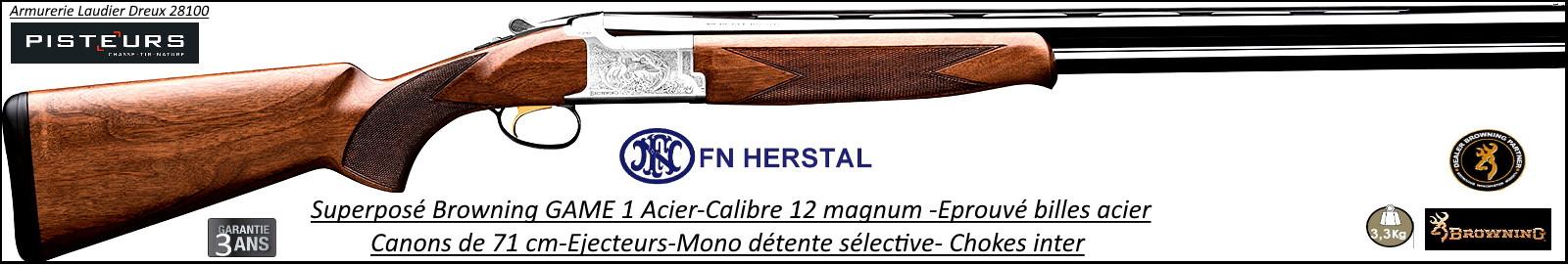 Superposé Browning B525 Game 1 Calibre 12 Magnum Canons 71cm-Ref 20892