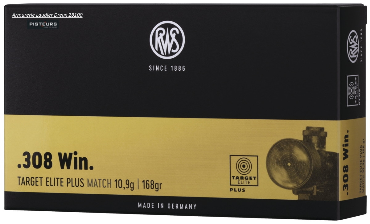 Cartouches RWS target ELITE PLUS Match Calibre 308 winch-168 gr- 10.9 grammes-ref 23193