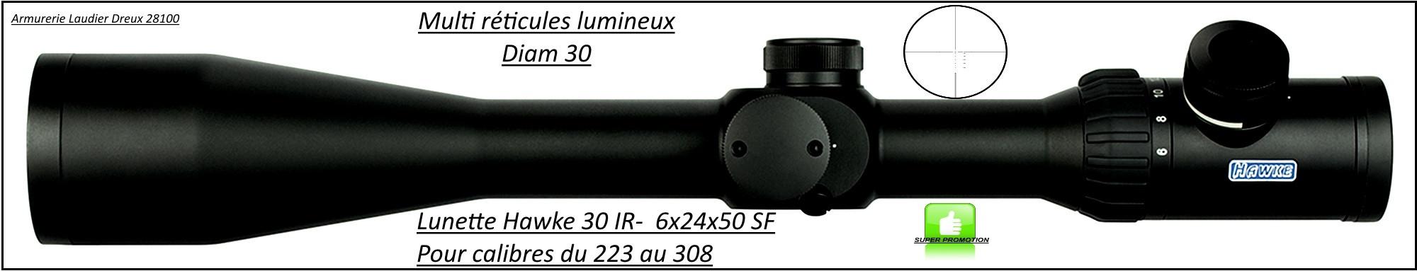 Lunette -Hawke Optics- Endurance 30 IR-6-24x24x50 SF-Pour cal 223 à 308 w -Ref 23825
