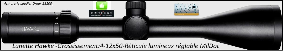 Lunette -Hawke Optics- Vantage-4-12x50-AO-Réticule-Mil Dot-lumineux-vert-rouge-Promotion-Ref 25501