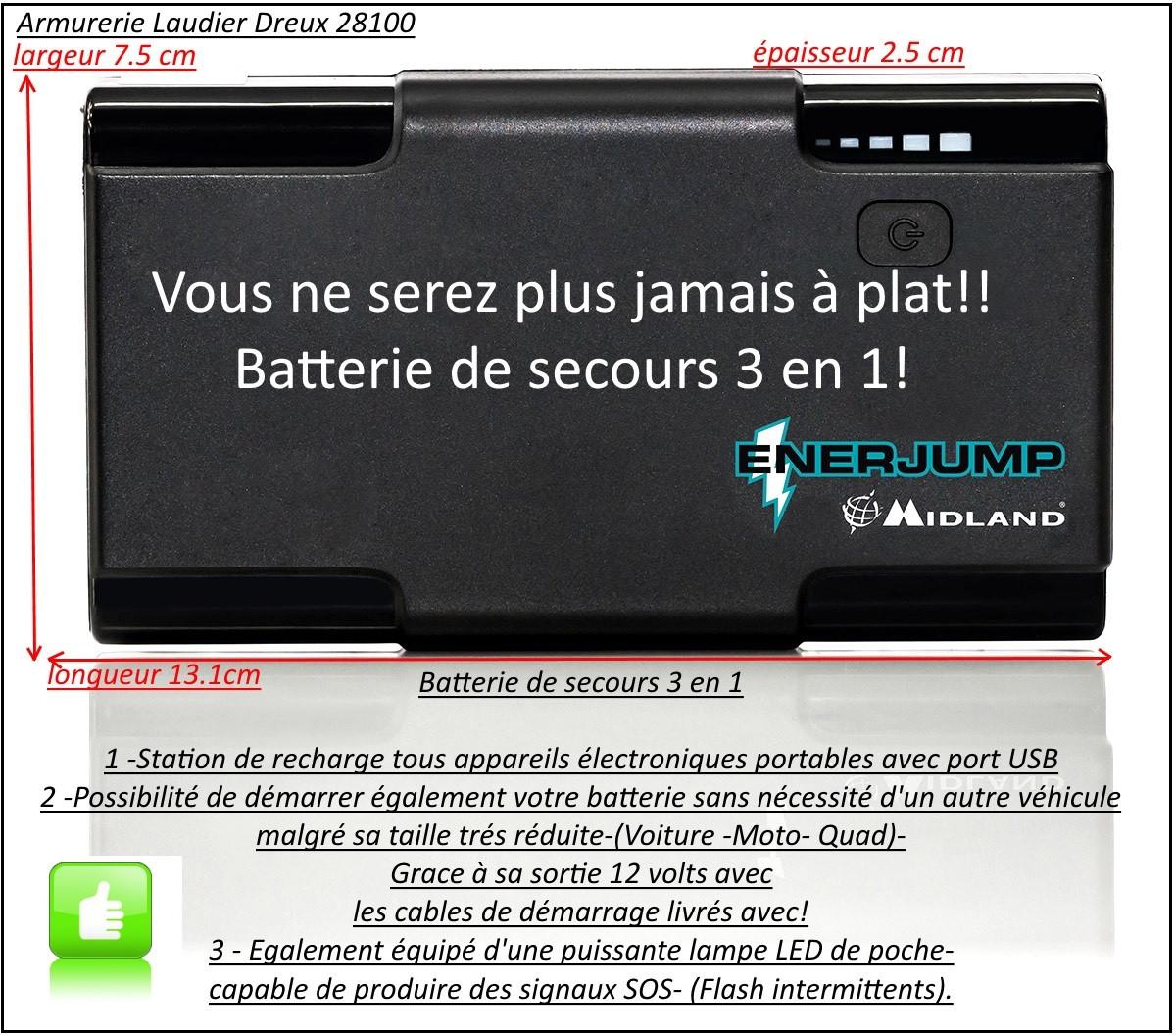 """Batterie de secours-Enerjump-Midland-batterie de secours 3 en 1-""""Promotion""""-Ref 25697"""